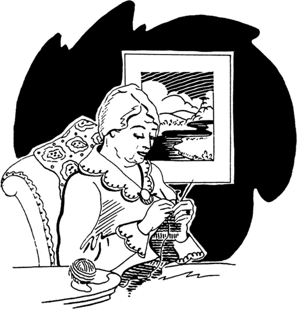 Vintage Grandma Knitting Image