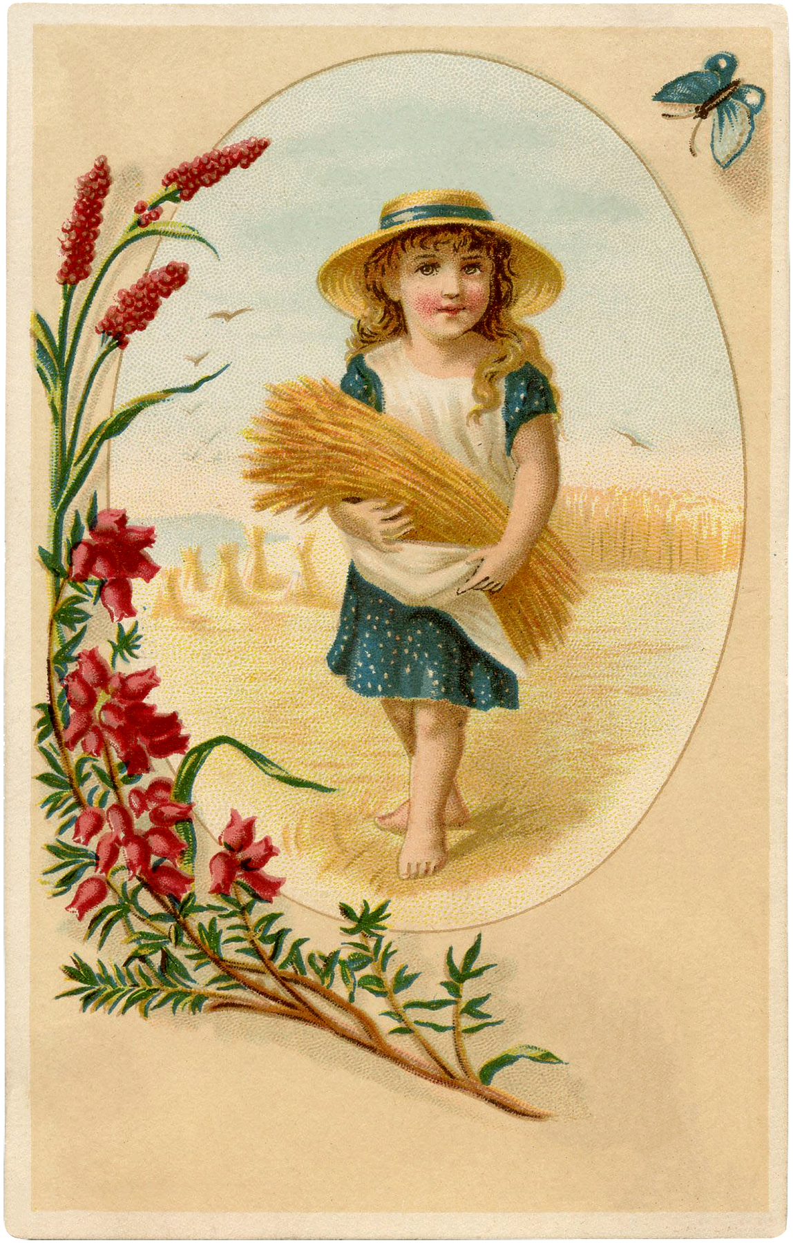 Cute Vintage Wheat Harvest Girl! - The Graphics Fairy