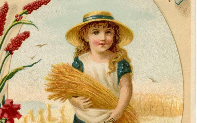 Cute Vintage Wheat Harvest Girl!