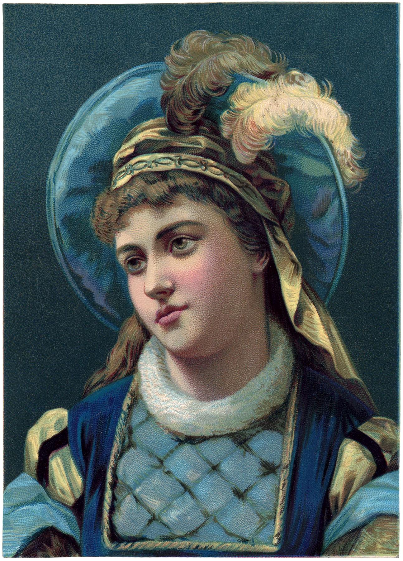 Vintage Medieval Lady Image