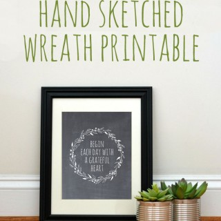 Free Hand Sketched Wreath Printable!
