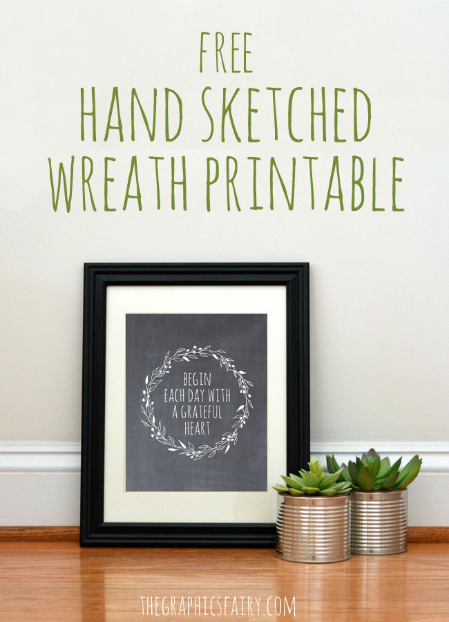 Free Hand Sketched Wreath Printable  //  The Graphics Fairy