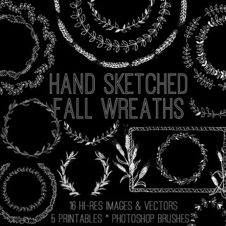 Hand Sketched Fall Wreaths