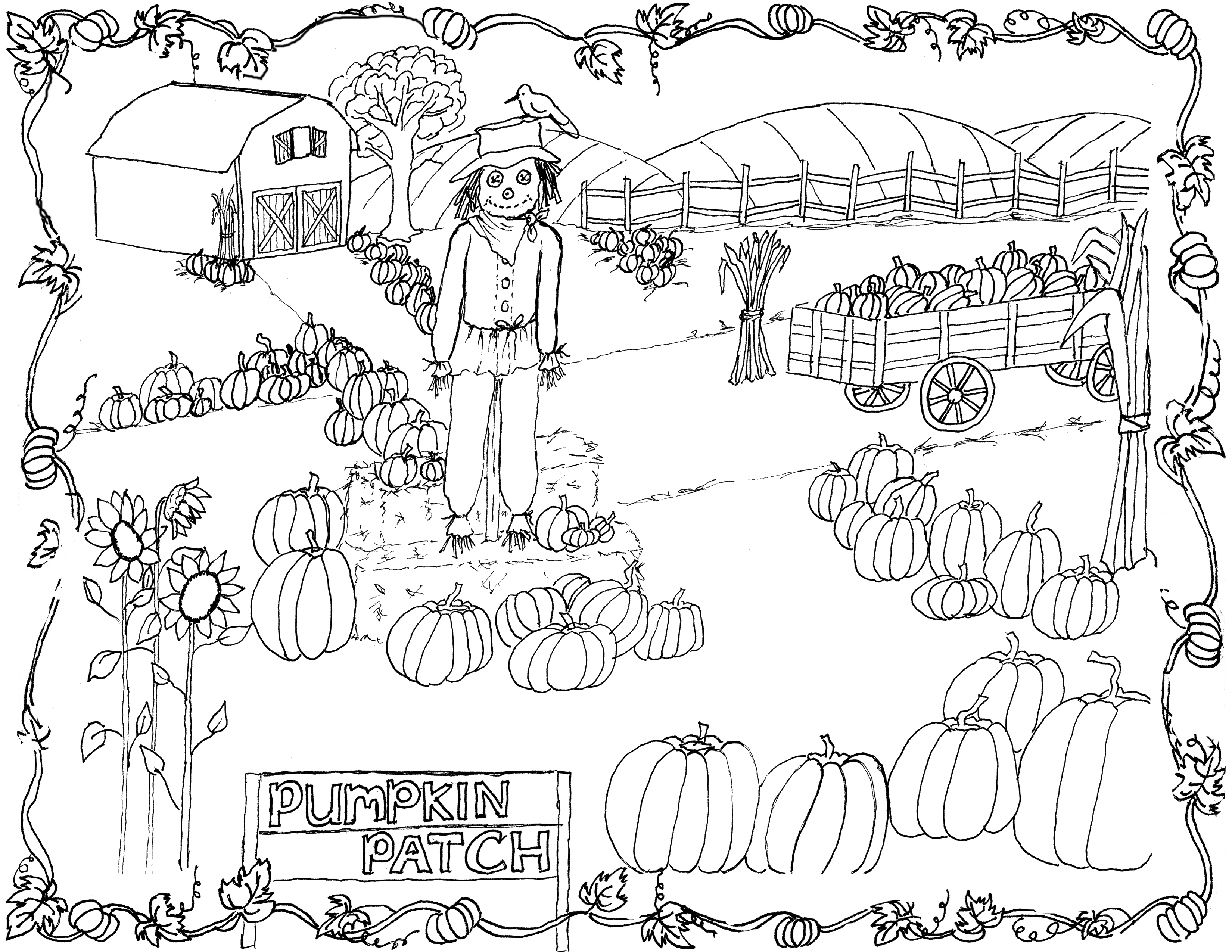 Pumpkin Patch Coloring Page Printable!