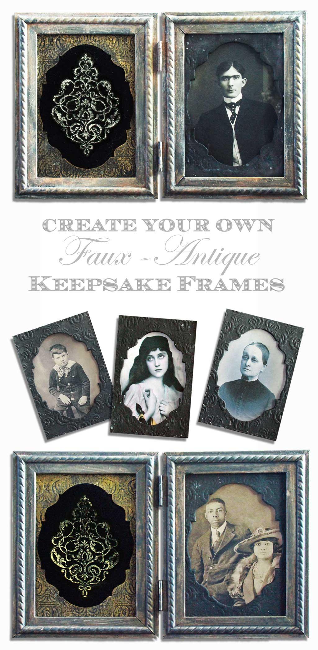 DIY Antique Keepsake Frames + Embossed Velvet Technique! - The ...