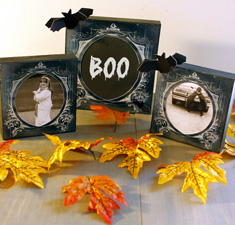 Halloween Black Frames with Leaves and Bats