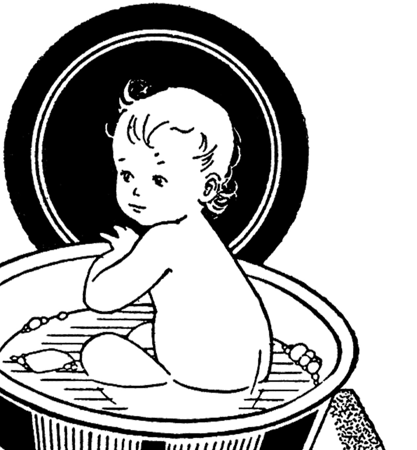 Vintage Baby in Bath Image - Cute! - The Graphics Fairy