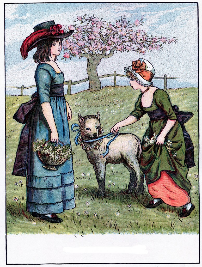 Vintage Children with Lamb Image