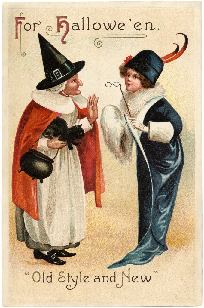 Vintage Halloween Witch Chat Image
