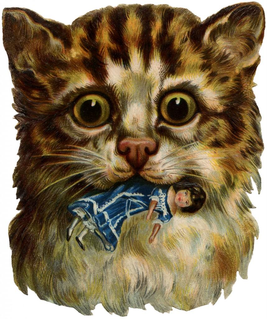 Vintage Odd Cat Image
