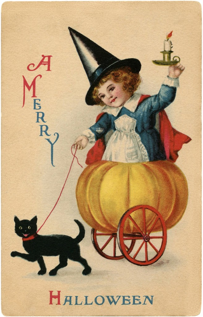Vintage Sweet Halloween Witch Image