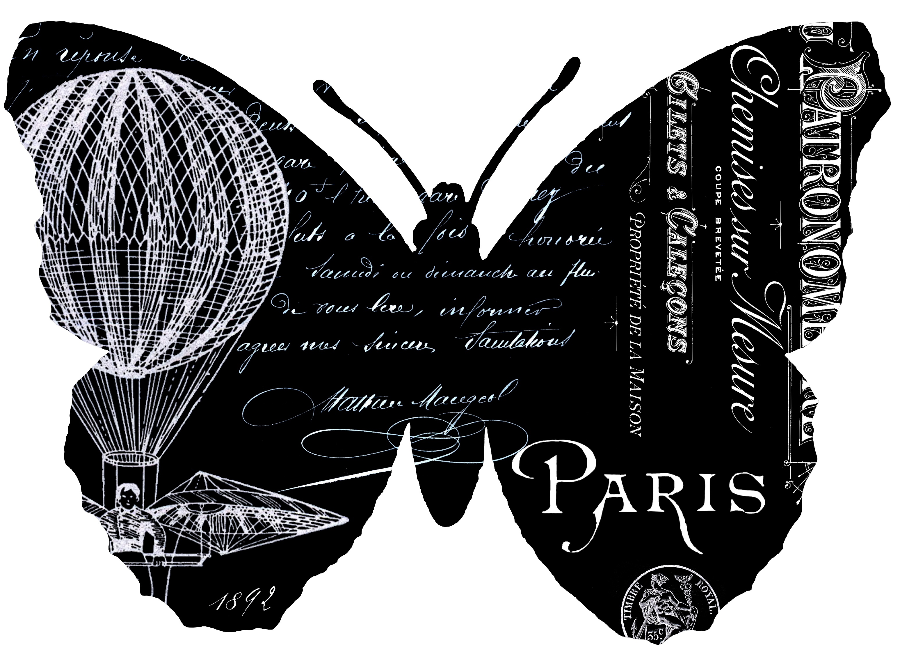 French Butterfly Typography Transfers // The Graphics Fairy