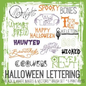 Hand Drawn Halloween Lettering Kit