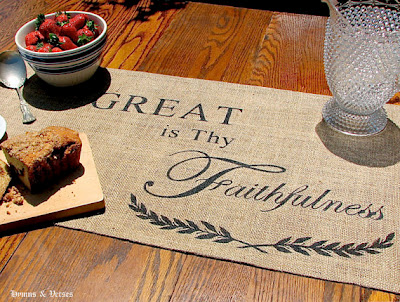 08 - Hymns and Verses - Burlap Table Runner
