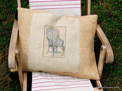 11 - My French Country Home - Burlap Pillow