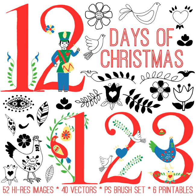 photograph about 12 Days of Christmas Printable referred to as Enormous 12 Times of Xmas Package - TGF High quality! - The Graphics