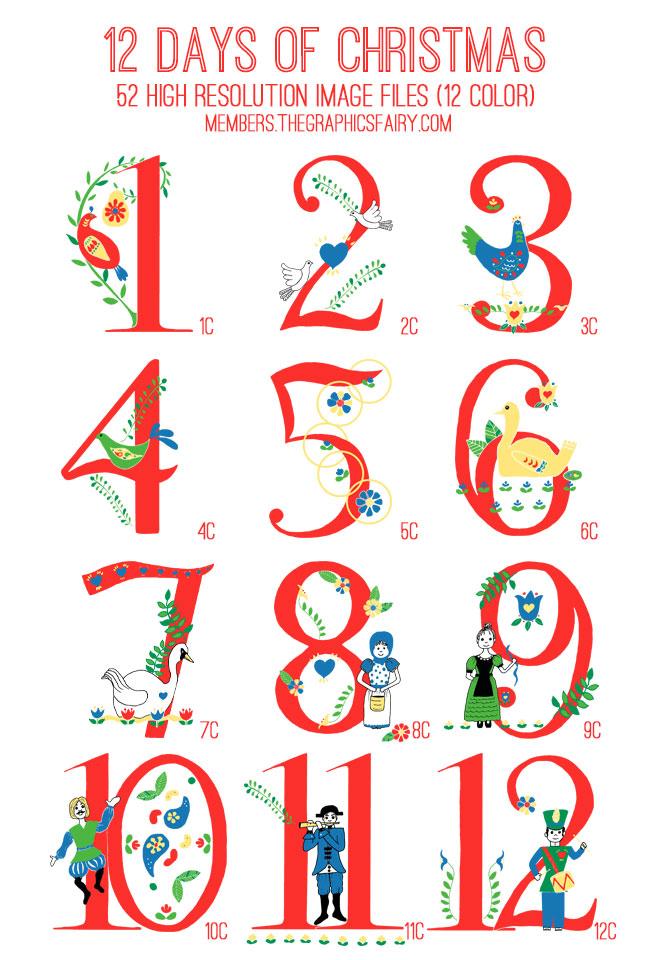 12 Days Of Christmas Illustrations Huge 12 days of christmas kit - tgf ...