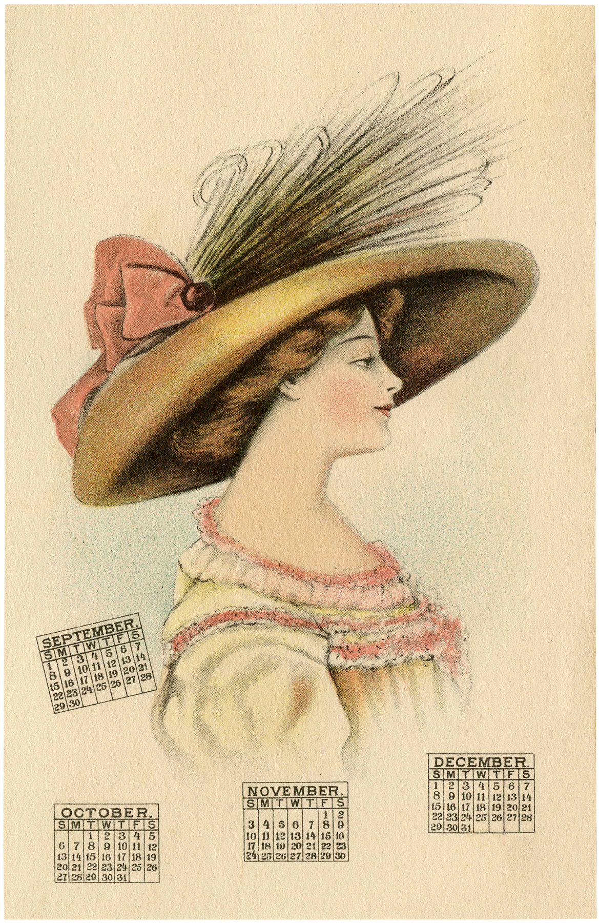 Antique 1912 Calendar Lady Image
