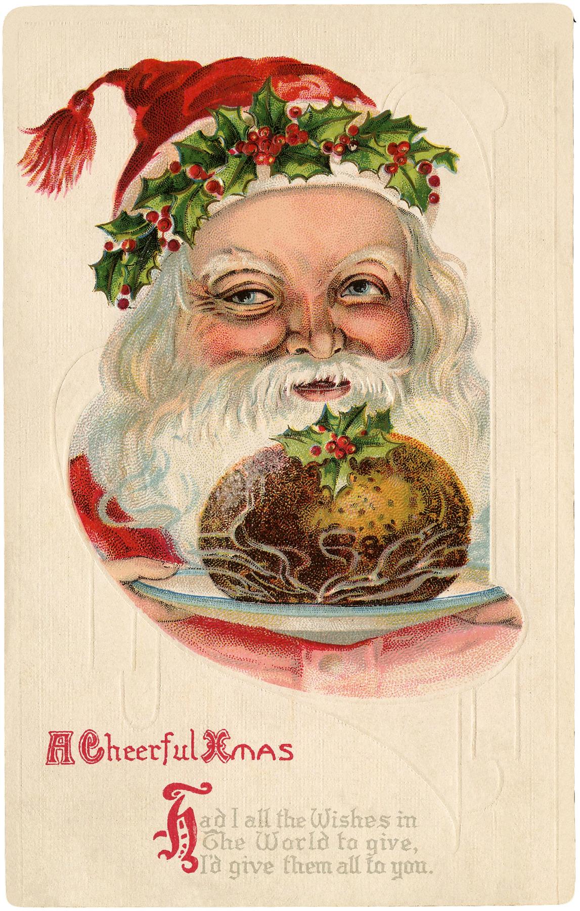 Old World Santa with Christmas Pudding Image