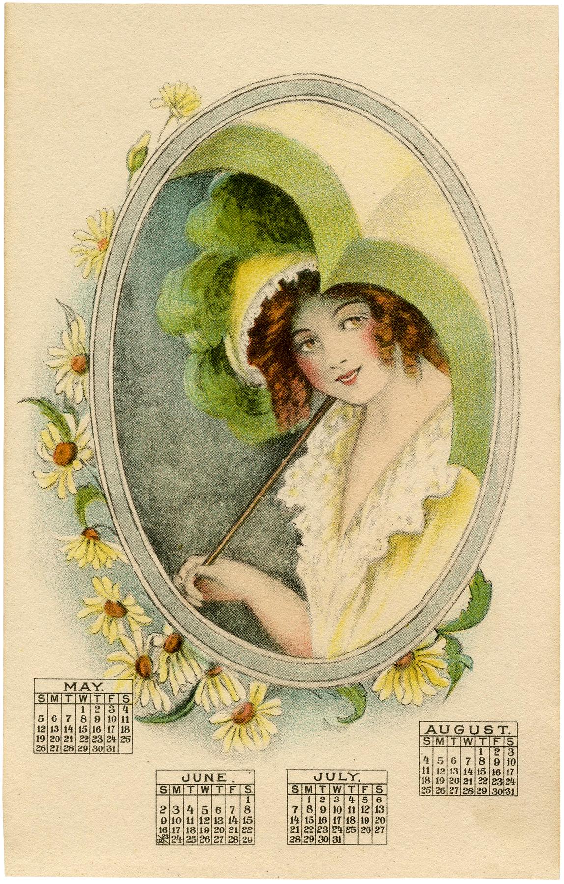 Calendar Vintage 2015 : Vintage calendar lady image parasol the graphics fairy