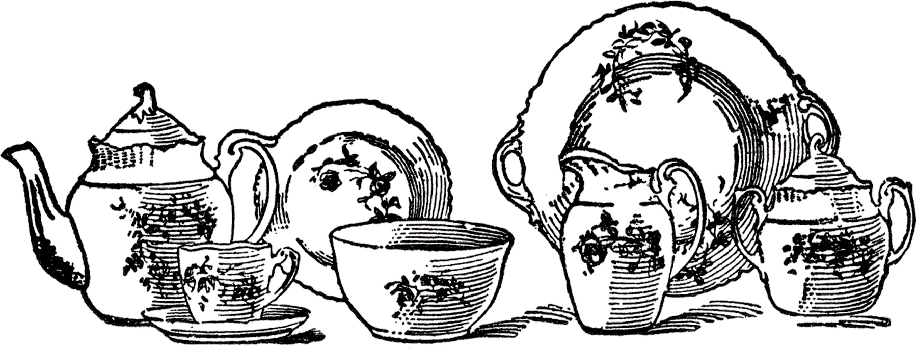 Vintage China Tea Set Image on vintage vector graphics