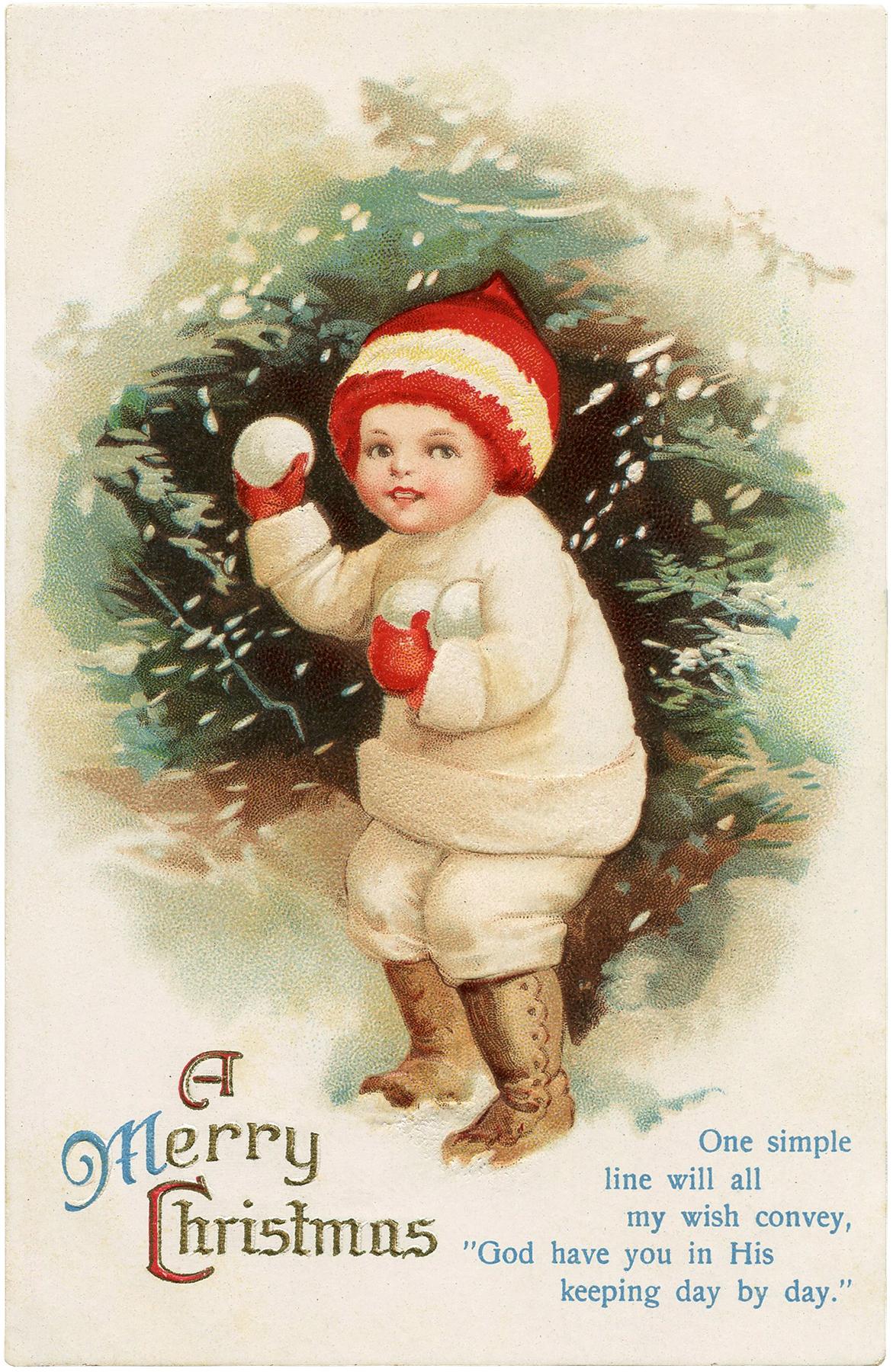 antique snowball boy postcard
