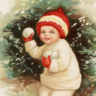 Antique Snowball Boy Postcard!