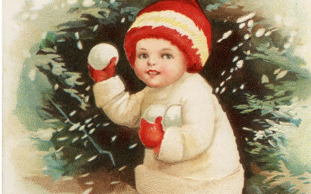 Antique Snowball Boy Postcard!
