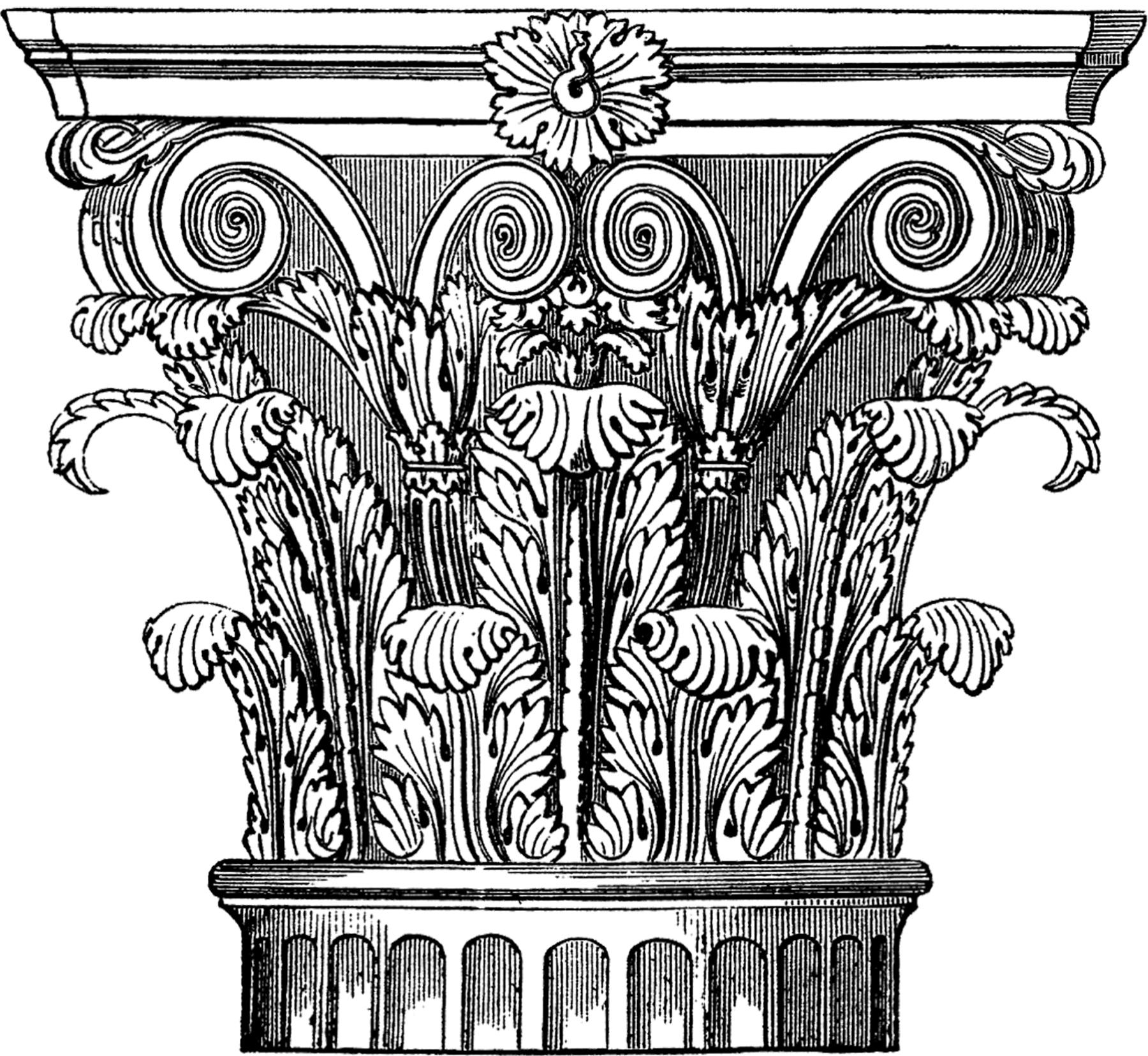 Ornate Corinthian Column Image The Graphics Fairy