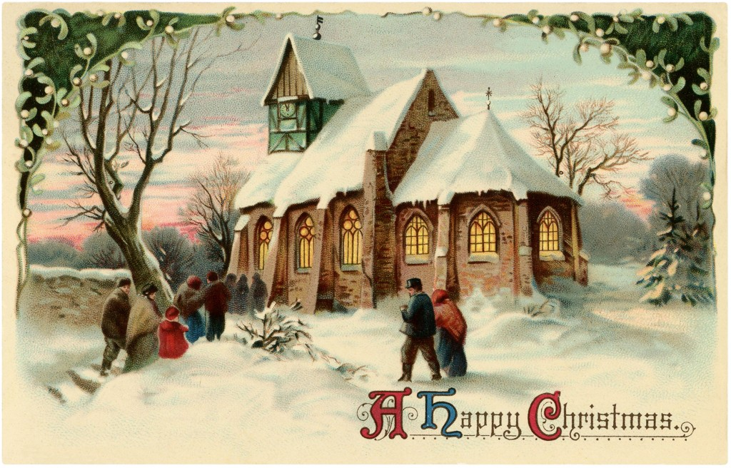 Vintage Christmas Church Image