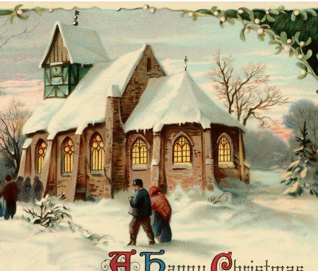 Vintage Christmas Church Image