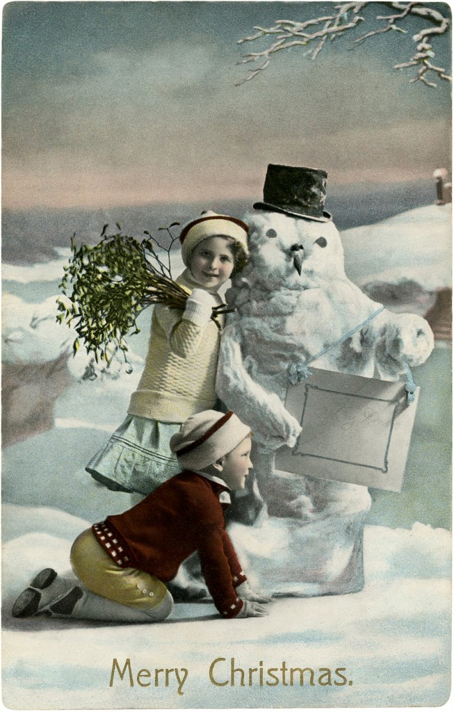 Vintage Christmas Snowman with two Children Photo