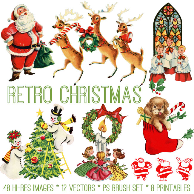 Retro Christmas.Retro Christmas Kit Tgf Premium The Graphics Fairy