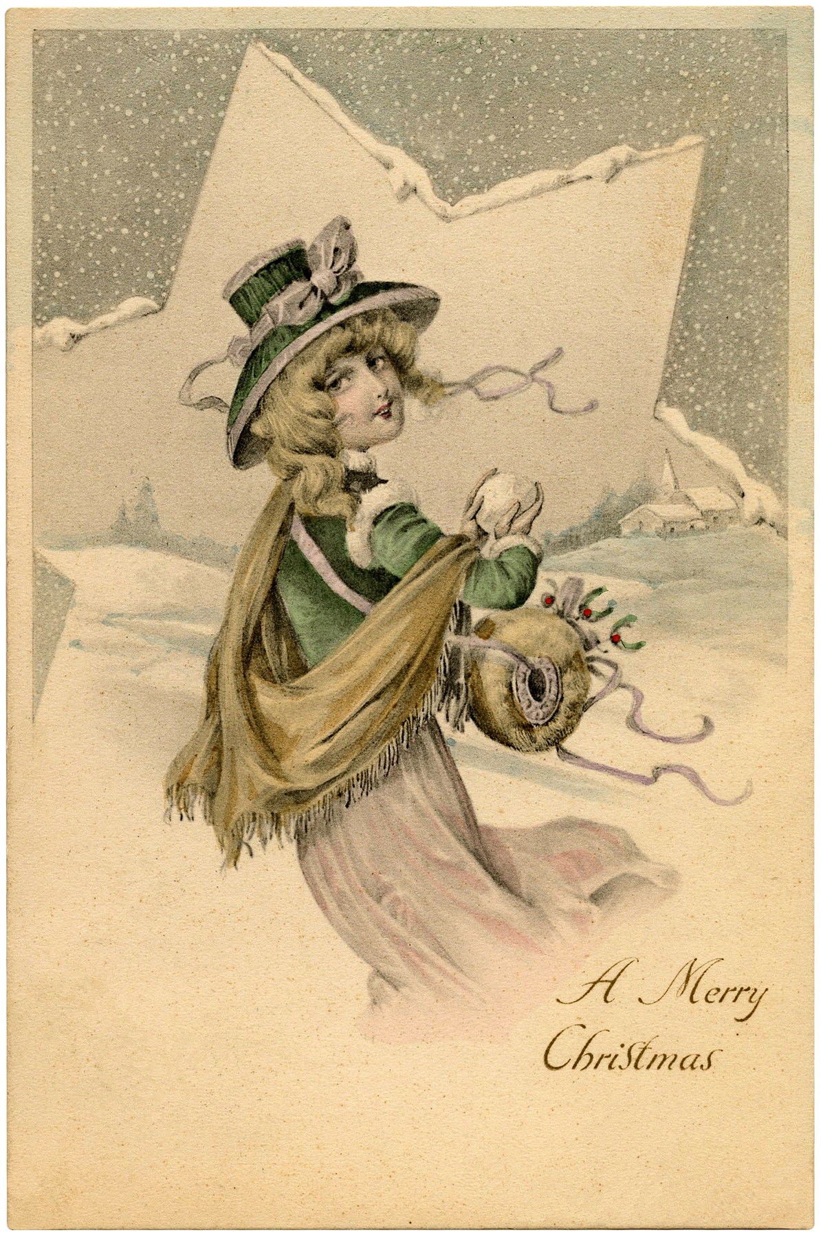 Christmas Lady with Star Image