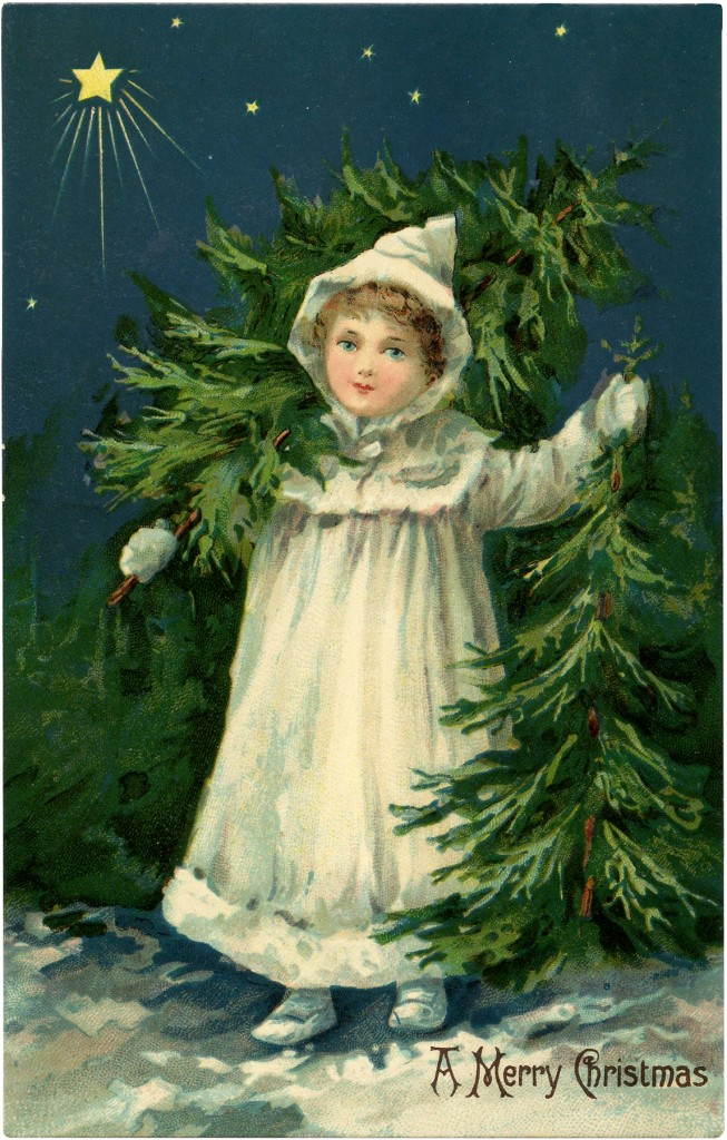 Christmas Tree Graphics with Farm Girl Carrying Trees