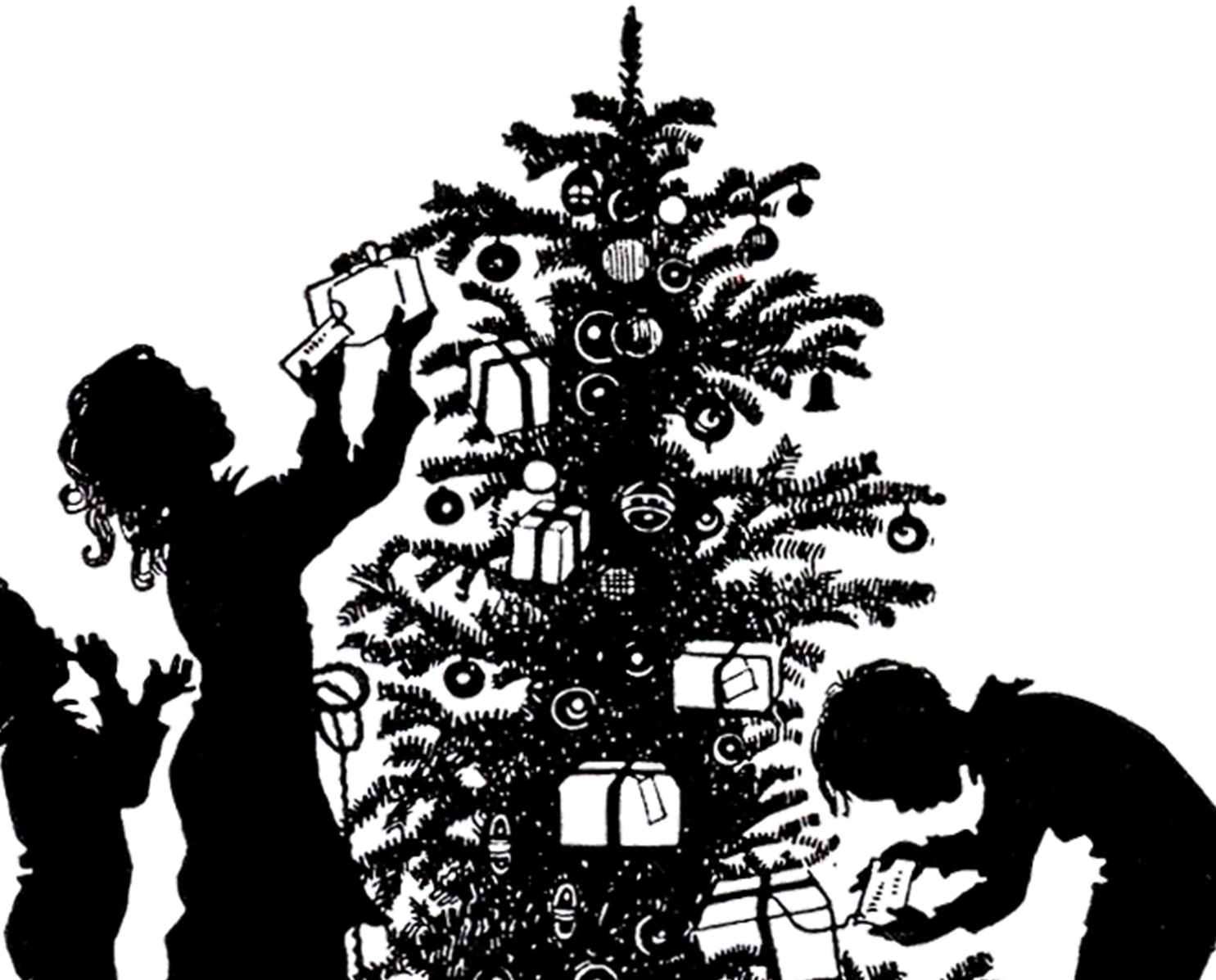 Christmas Morning Silhouette Image! - The Graphics Fairy