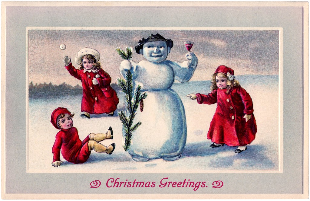 Cute Snowman Image with Children