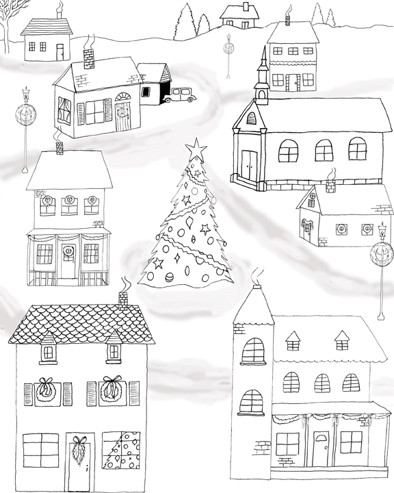 top free printable christmas coloring page the graphics fairy with christmas village coloring pages