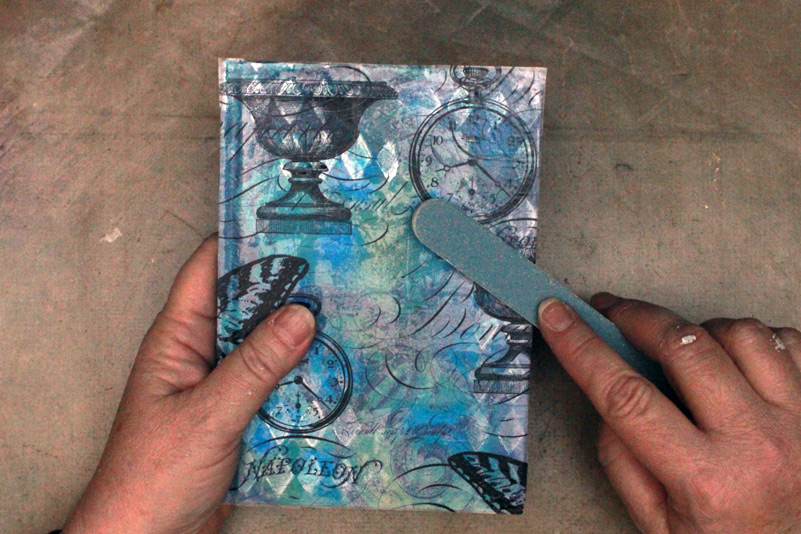Ice-Resin-Collage-Paper-Gelli-Journal-Sanding