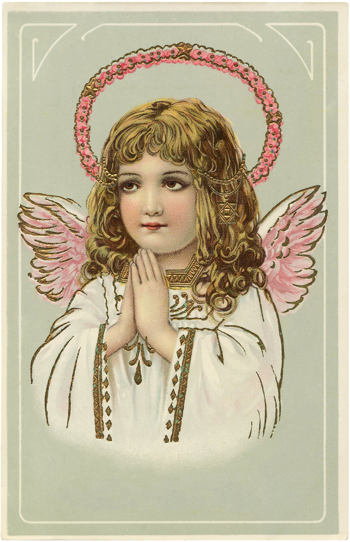 gorgeous vintage angel pink wings image the graphics fairy. Black Bedroom Furniture Sets. Home Design Ideas
