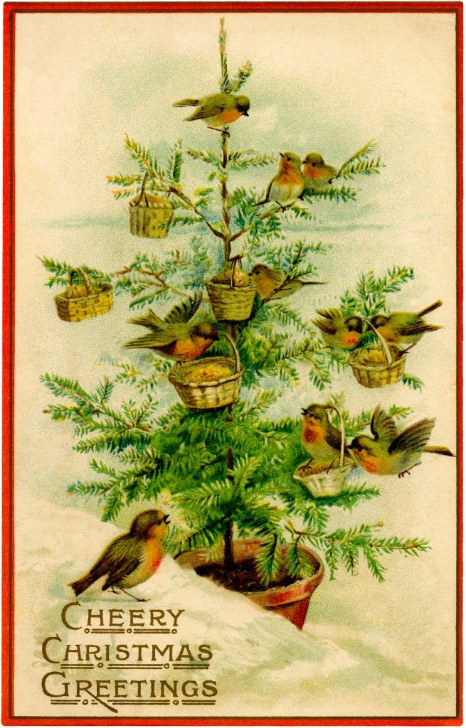 Vintage Birds Christmas Tree Image