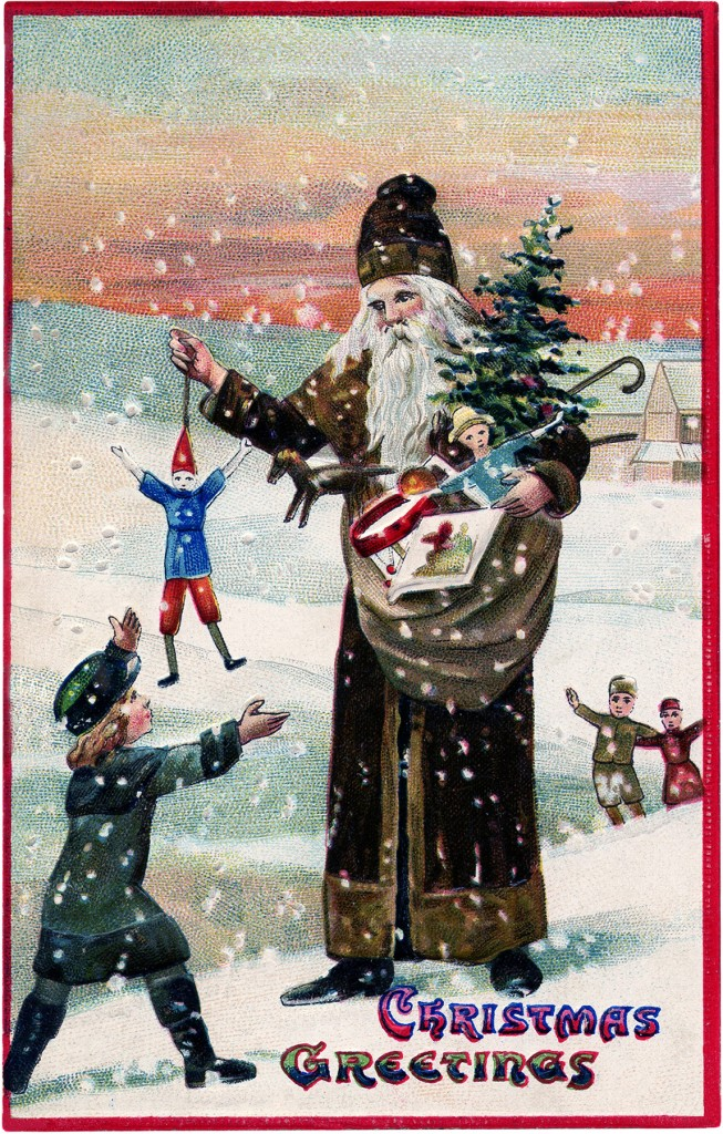 Vintage Brown Robe Santa Image