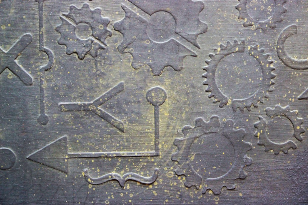 Vintage-Industrial-Finish-Stencil-Venetian-Plaster-Gears-Detail