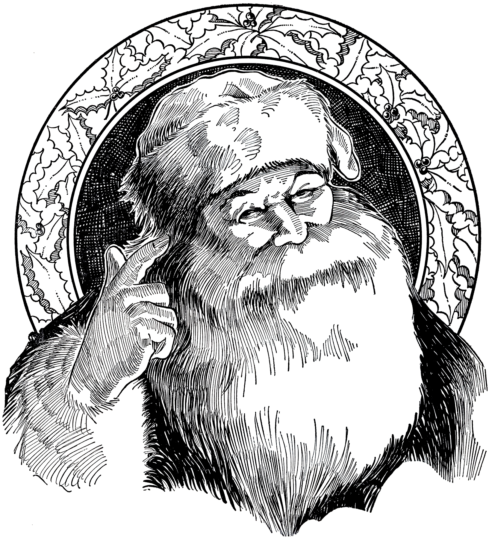 Classic Retro Illustration: 6 Santa Illustrations