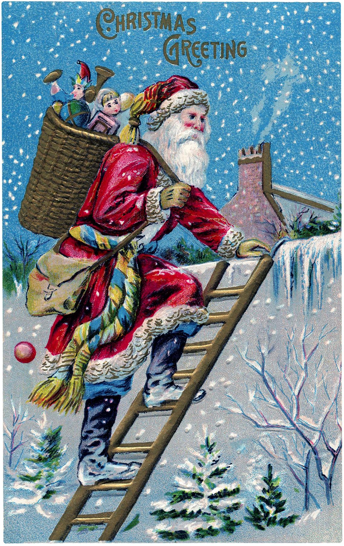 Vintage Santa on Roof Image