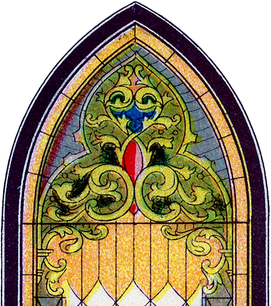 Vintage Stained Glass Church Window Image
