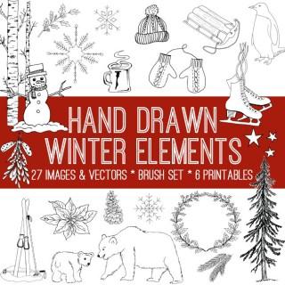 Hand Drawn Winter Elements Kit