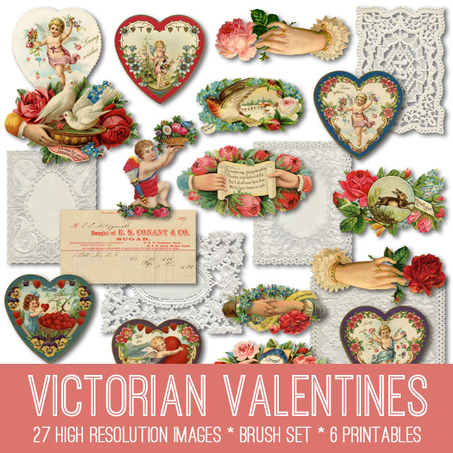 Victorian Valentines Kit TGF Premium The Graphics Fairy – Vintage Victorian Valentine Cards