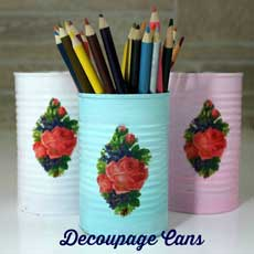 DIY Decoupage Cans with Printed Tissue Paper!