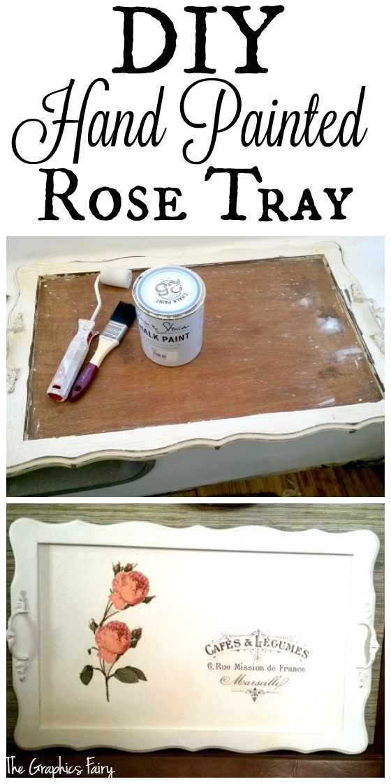 DIY Hand Painted Rose Tray - The Graphics Fairy